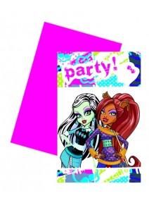 cartes d`invitationx6 Monster High
