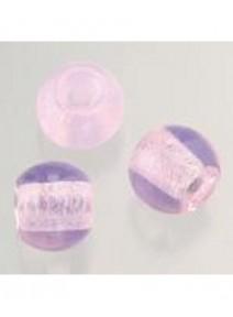 5 perles en verre rose opale