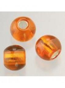 5 perles en verre orange argenté