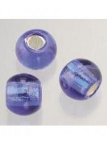 5 perles en verre bleu roy argenté