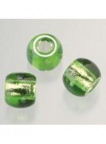 5 perles en verre vert tilleul argenté
