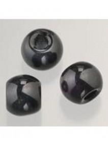 5 perles en verre noir opaque