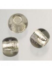 5 perles en verre gris argenté