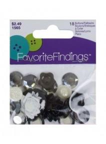 18 boutons ou breloques noir argenté