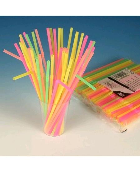 250 pailles flexibles 24cm unicolore