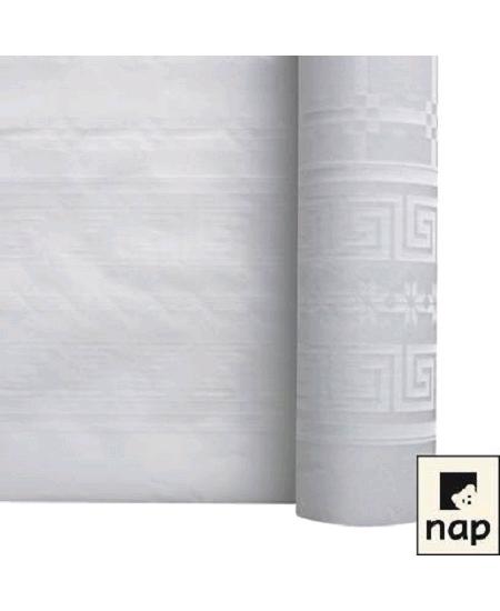 nappe blanche 100Mx1M20 damassée.
