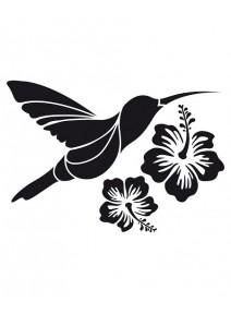 pochoir colibri avec 2 fleurs
