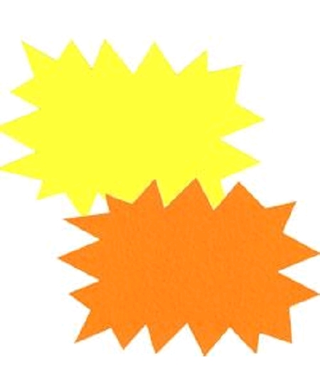 25 éclatés 24cmx32cm fluo jaune/orange