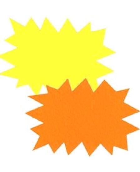 5 éclatés 24cmx32cm fluo jaune/orange