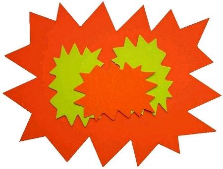 50 éclatés 8cmx12cm fluo jaune/orange