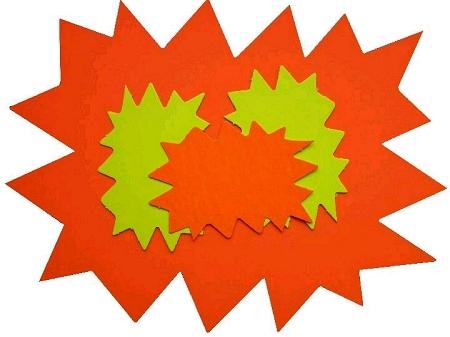 10 éclatés 8cmx12cm fluo jaune/orange