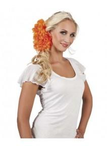 fleur sur pince orange fluo