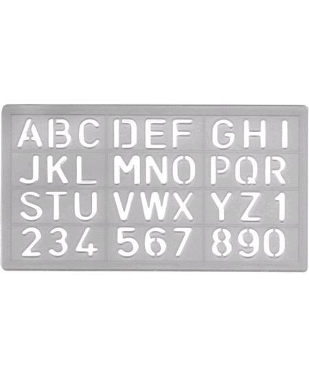 pochoir alphabet + chiffres 2cm