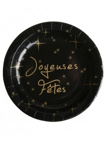 assiettesx10/D22.5cm noir Joyeuses fêtes