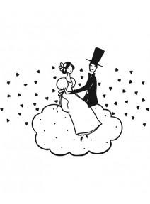 tampon couple sur les nuages (G)