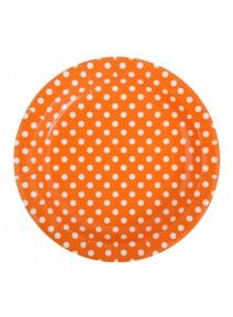 10 assiettes D17.5cm orange à pois