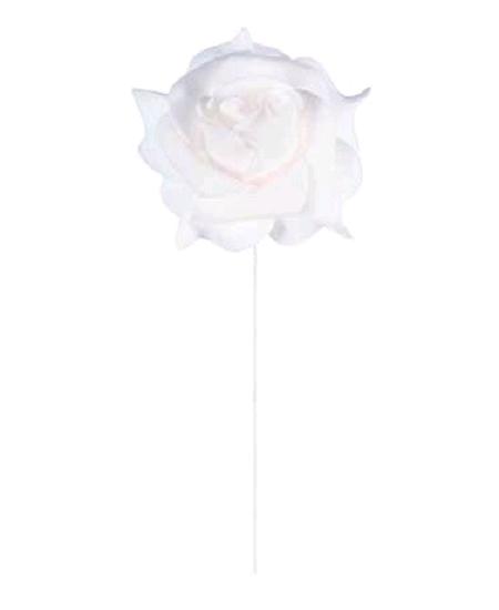 rosesx6 blanche sur tige D5cm