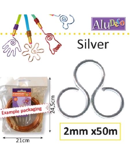 fil aluminium 60Mx2mm argent