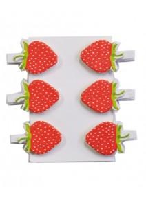 fraisesx6 sur pinces en linge bois