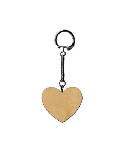 porte clé coeur en bois