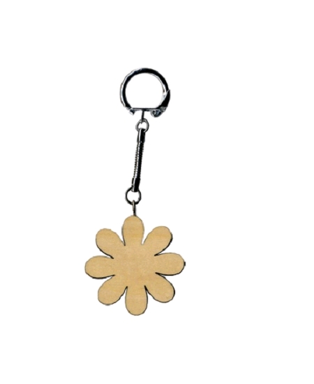 porte clé fleur en bois