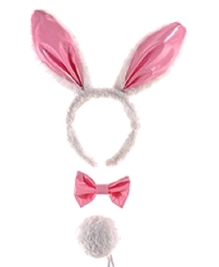 set lapin : oreilles+neud papillon+queue