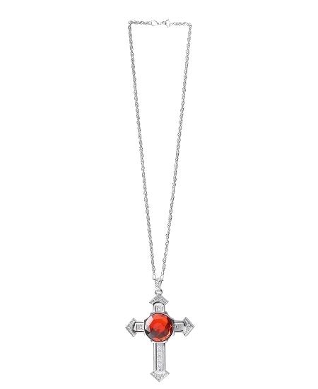 collier croix gothique rouge