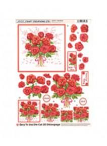 carte bouquet de roses prédécoupées