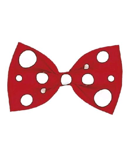 noeud papillon rouge pois blanc maxi clown