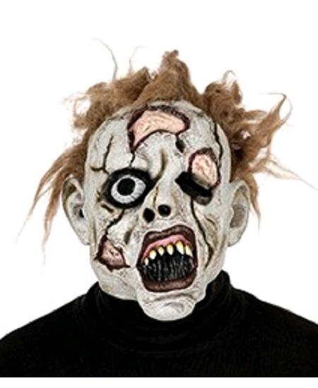 masque zombie en latex avec cheveux