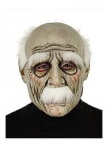 masque grand-père en latex avec cheveux