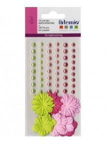 perlesx51+24 fleurs rose vert