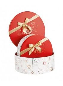boîte ronde D34cm rouge blanc or