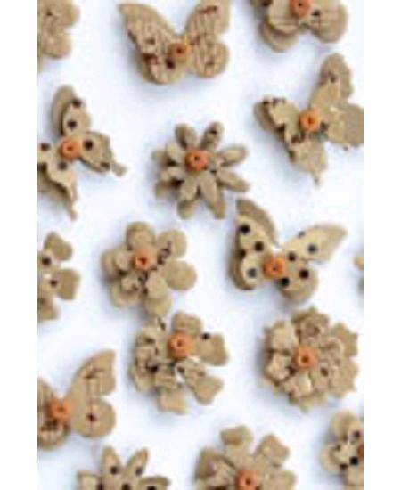 papillonsx14 fleursx16 taupe en relief