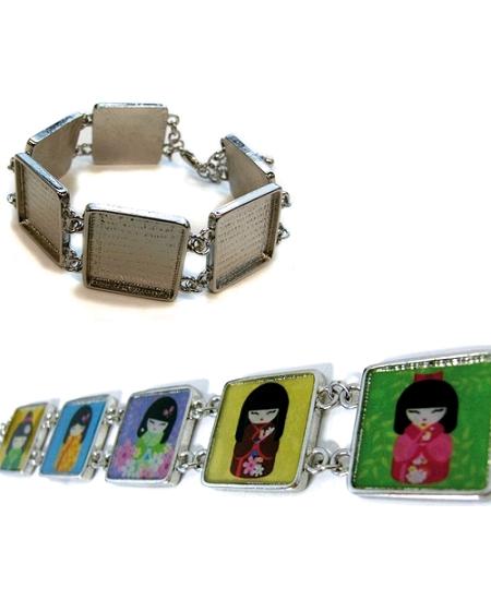 bracelet métal carré 2cmx2cm