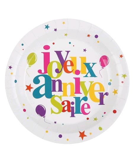 assiettesx10/D22.2cm joyeux anniversaire
