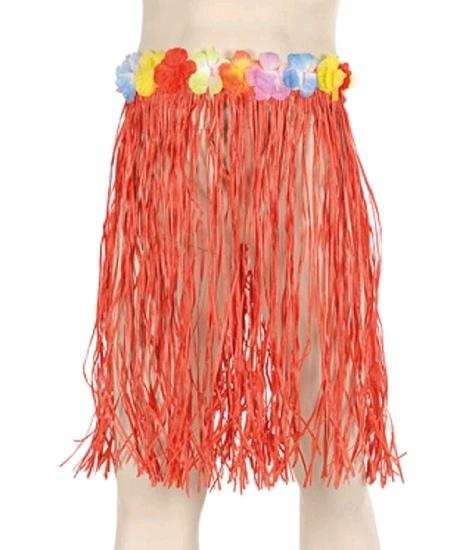 jupe hawaï raffia 60cm rouge