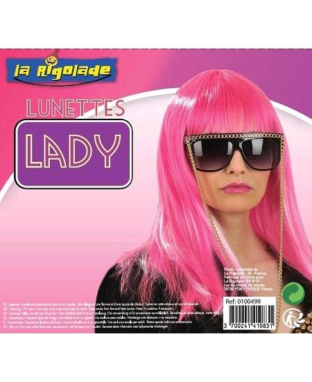 lunette lady noire avec chaîne dorée