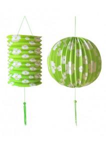 set boule + lampion vert avec fleurs