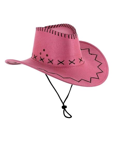 chapeau cowboy rose adulte