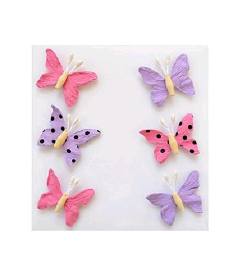 papillonsx6 parme rose papier rigide