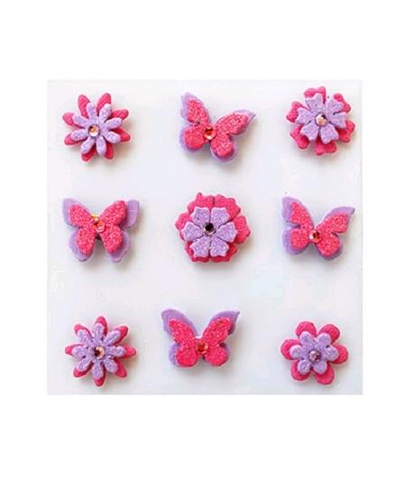 papillons et fleursx9 parme rose