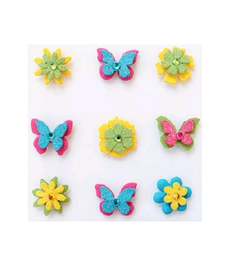 papillons et fleursx9 assortis