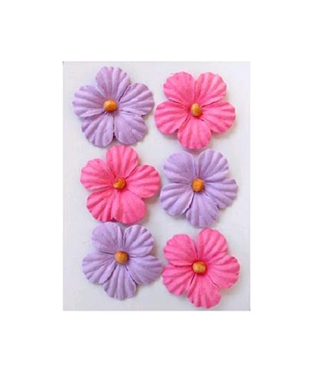 fleursx6 assorties en papier