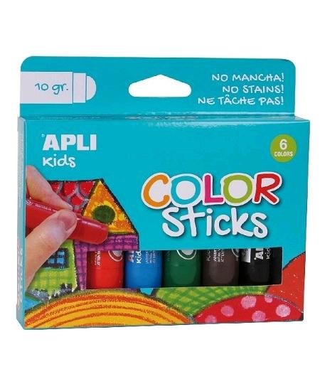 6 gouaches en stick couleurs assorties