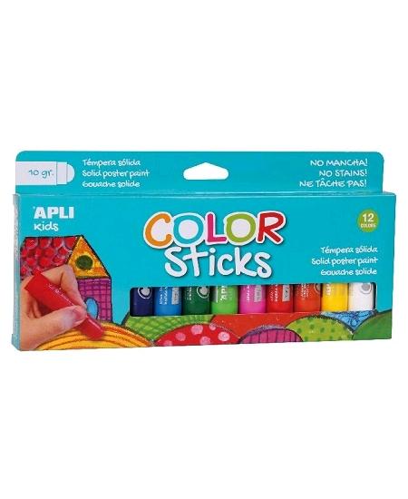 gouachesx12 en stick couleurs assorties