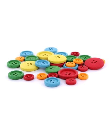 30 boutons en bois couleurs