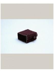 boîte à dragées chocolat en bambou 6x6cm/h3cm