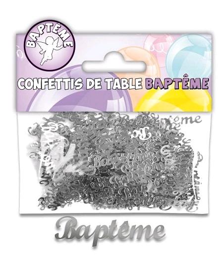 confettis baptême argent