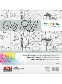 papier scrapx6 à colorier city life